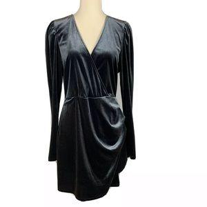 WILD FABLE Gray Long Sleeve Velvet Dress NWT L